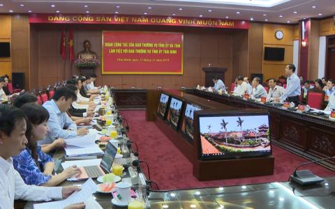 Đoàn công tác Ban Thường vụ Tỉnh ủy Hà Tĩnh làm việc với Ban Thường vụ Tỉnh ủy Thái Bình
