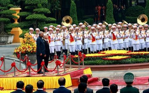 Tổng bí thư, Chủ tịch nước Nguyễn Phú Trọng  đón tiếp Tổng thống Ấn Độ Ram Nath Kovind