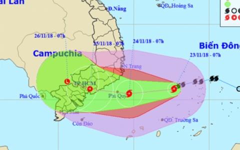 Bão Usagi hướng vào Nam Trung Bộ, gây mưa to