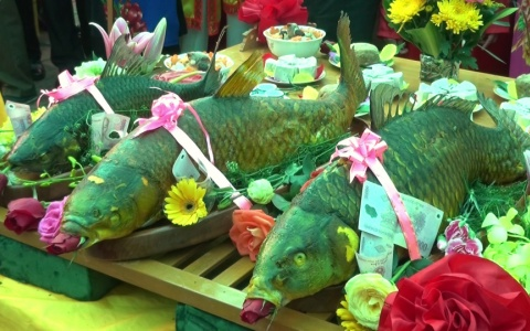 Độc đáo tục thi cỗ Cá đền Trần Thái Bình xã Tiến Đức, huyện Hưng Hà