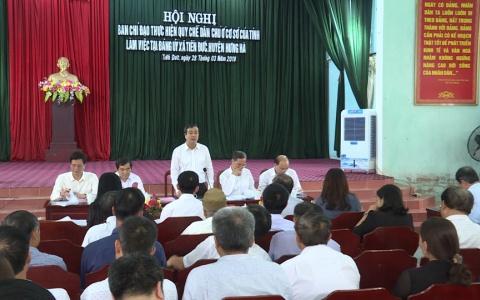 Ban chỉ đạo thực hiện Quy chế dân chủ ở cơ sở tỉnh Thái Bình làm việc tại xã Tiến Đức, huyện Hưng Hà