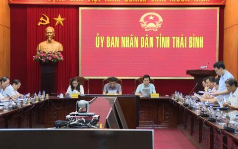 UBND tỉnh nghe báo cáo việc hoàn trả kinh phí thu hồi đất 5% công ích xã Mỹ Lộc để thực hiện Dự án xây dựng Trung tâm điện lực Thái Bình
