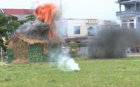 Huyện Quỳnh Phụ tổ chức diễn tập chiến đấu phòng thủ cụm 9 xã năm 2019