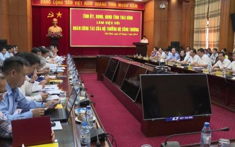 Tỉnh Thái Bình làm việc với đoàn công tác của Bộ Công thương