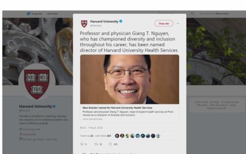 Người gốc Việt làm trưởng phòng y tế Đại học Harvard