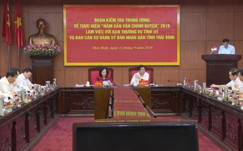 """Đoàn kiểm tra Trung ương làm việc với tỉnh Thái Bình về thực hiện """"Năm dân vận chính quyền"""" 2019"""