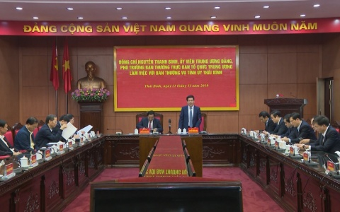 Đoàn công tác của Ban Tổ chức Trung ương làm việc với Ban Thường vụ Tỉnh ủy Thái Bình