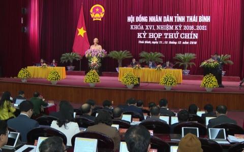 Kỳ họp thứ chín HĐND tỉnh Thái Bình: kinh tế xã hội phát triển ổn định
