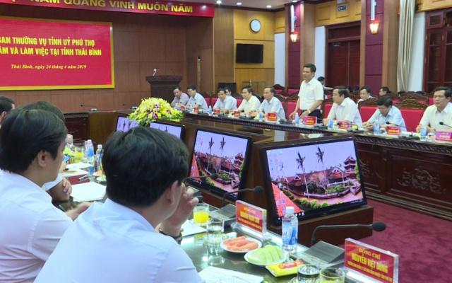 Ban thường vụ Tỉnh ủy Phú Thọ làm việc tại tỉnh Thái Bình