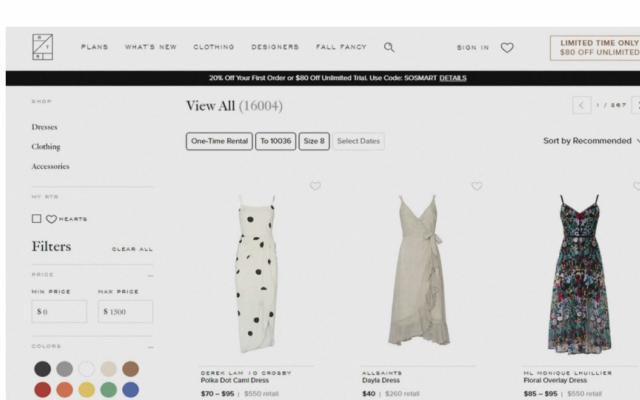 Dịch vụ cho thuê quần áo nở rộ tại Mỹ