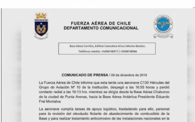 Máy bay quân sự Chile mất tích